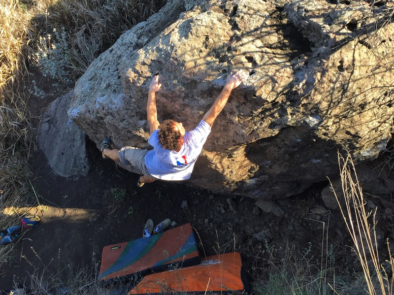 Mike with the reach on his boulder problem