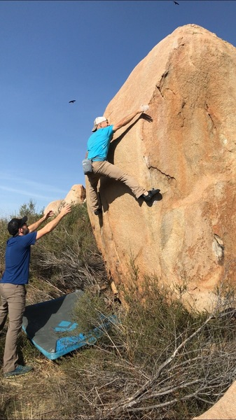 Ben slapping up the arete