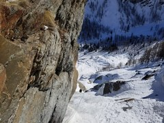 Rock Climbing Photo: View back down the gully of P5 from the anchor