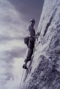 Bob Gaines on the first ascent of Turn The Page (5.10b), October 1993. Photo by Mike Borrelo.