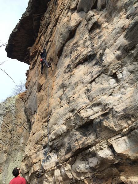 Ryan Frank belaying Christopher DeGarmo at the crux of this route