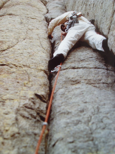 """1974 on the Durrance with large Hexentric nuts, bong-bong pitons, and """"Robbins boots"""". In 1974 you still needed to get """"checked out and approved"""" by the Park Rangers. (photo by Steve Schofield)"""