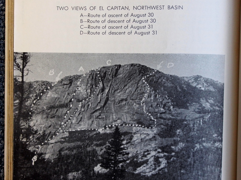 Photo from 1946 Appalachia showing A. Wexler's routes on NW Basin cliff