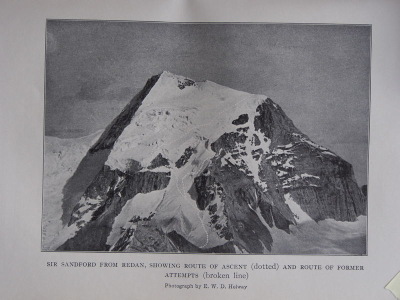 "Holway photo showing FA route and the route of multiple attempts on the ""Hourglass"" route. (from Palmer, ""Climbs and Expeditions in the Northern Selkirks"")"