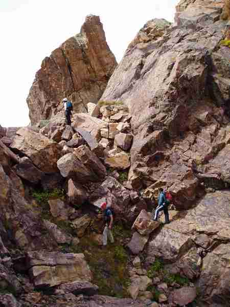 """Moving along towards summit of the Mtn. (we may have stayed too high too long, apparently you can traverse to the right of the ridge crest and get to the final """"cut"""" (gully) more easily than staying high)"""