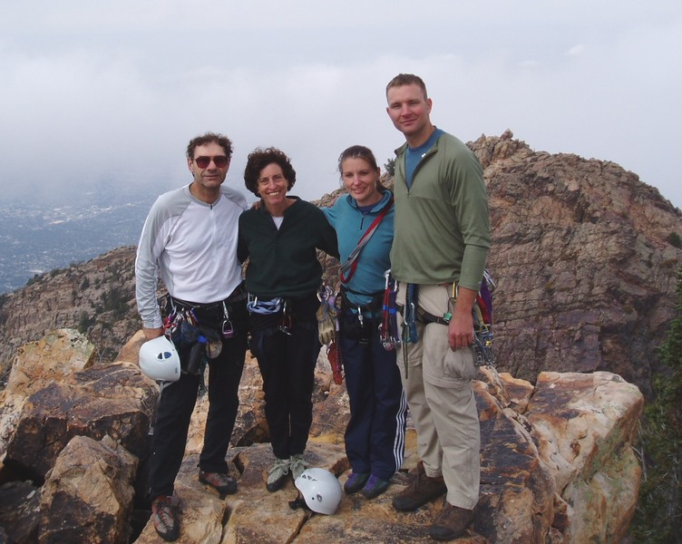 Bob, Sheila, Jen & Max on the summit, 2005. We stayed on the ridge crest and came down the rock behind and right of Max; apparently it's easier to traverse to the left of Bob !