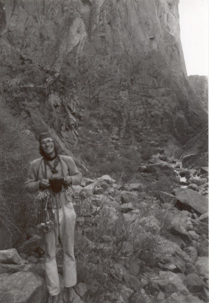 A photo I took of Earl Wiggins minutes before he made the first free solo ascent of the Russian Arete. We shared a bite to eat and had a few chuckles, then he took off. He beat me to the top! Circa 1975.