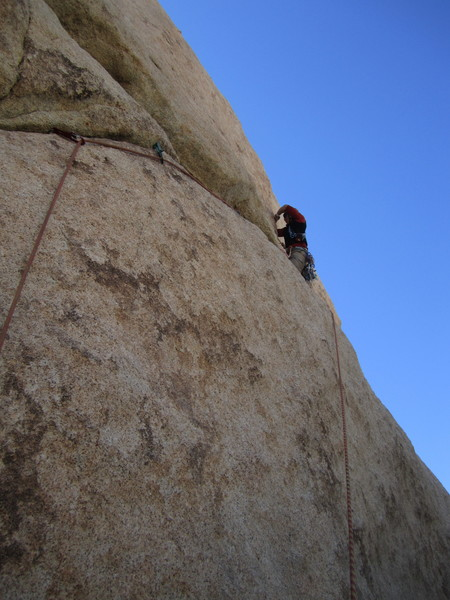 Gaining the wide crack just after the traverse
