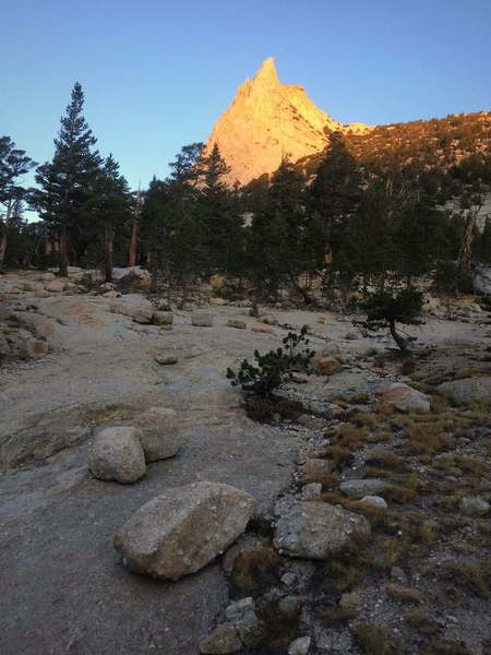 Early light on Cathedral Peak
