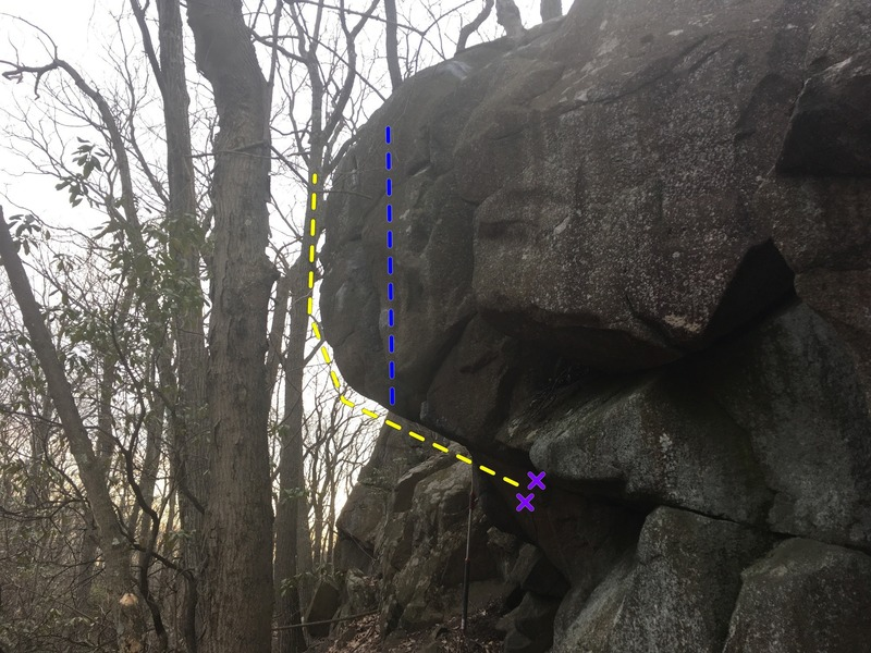 View from the other side. Direct finish in Blue. Path of least resistance curls around to the other side of the boulder (Yellow line).