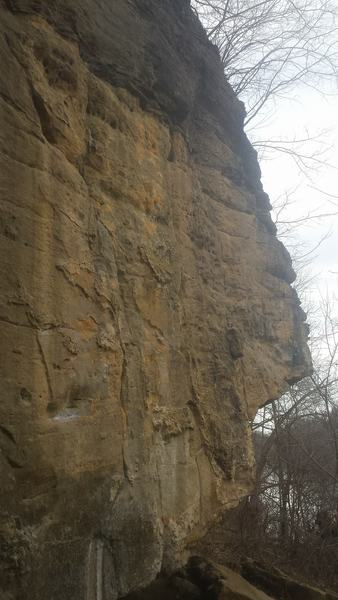 Left to right: (First crack) Ludwig's Dude 5.10, (Second crack) Pigeon Shit 5.9, (Arete to face) Walk on By 5.11, (Arete to face) Hollywood 5.12