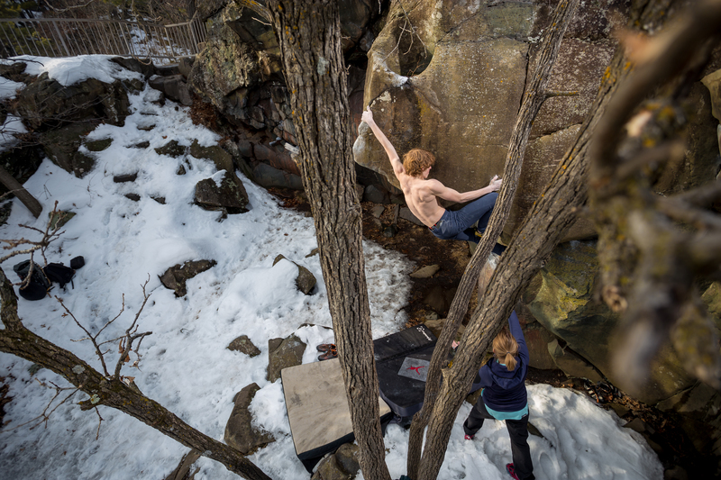 Climber Jacob Fast<br> Photo by Anthony Johnson