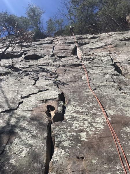 Thierry rappelling on Cathedral Crack.