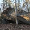 One side of warped wall boulder