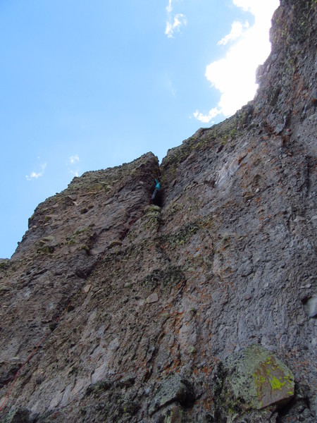 The 5.9 3rd/4th pitch.  The traverse can be seen above and to the right of climber in photo.