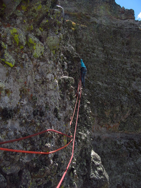 "The dreaded decomposing ""Lichen Traverse.""  I wish I was double-belayed too, but at least I wasn't on lead."