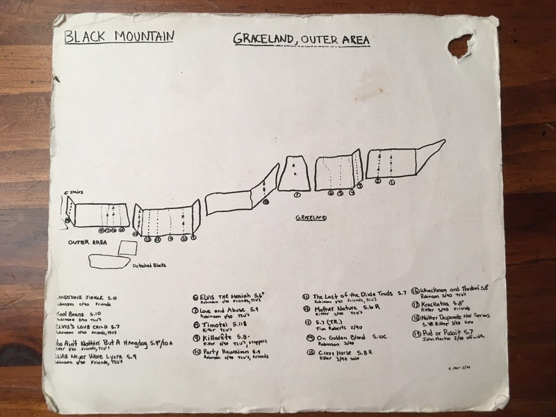 """Frank Harvey's copy of """"Climbers Guide to Black Mountain"""" by Glenn Ritter."""