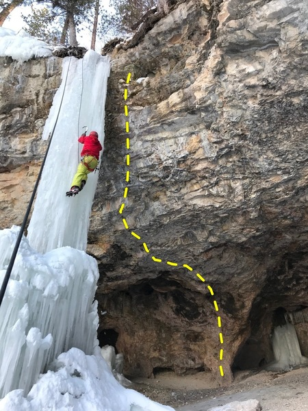 Start in back of cave and climb out to the right side of ice pillar. Pumpy as hell !