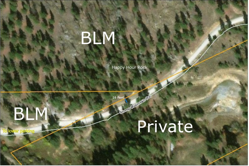 Beta on property boundaries for Happy Hour Rock. Data are from the Montana Cadastral Website (cadastral.mt.gov, accessed March 10, 2018), the states official source for property ownership. In the gully below the rock the property boundary is approximately 15-16 feet west of the road. Cutting through the woods from the lower or upper parking should keep you on public land.