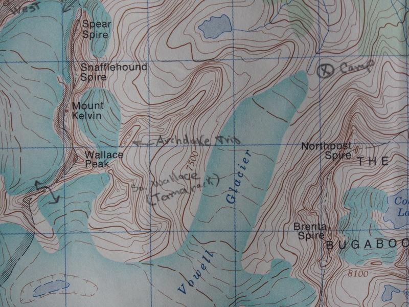 Archduke Trio map (1km/grid square; declination 21deg East of Grid north)