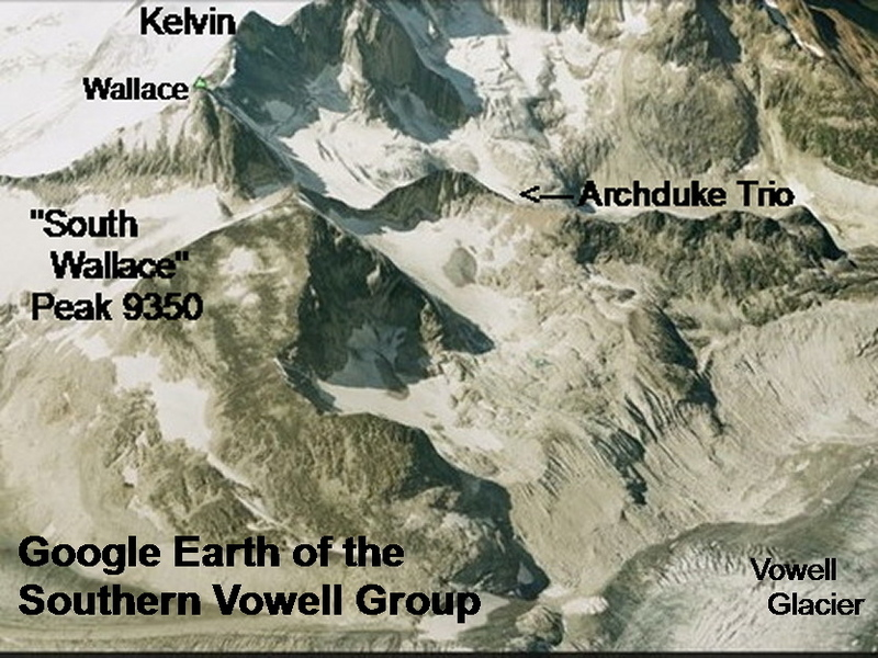 Google Earth of Archduke Trio area (roughly the same area as the map; Google Earth does not make the formation look anywhere near as serious as it is! )