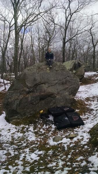 KLS sitting on top of the easy boulder