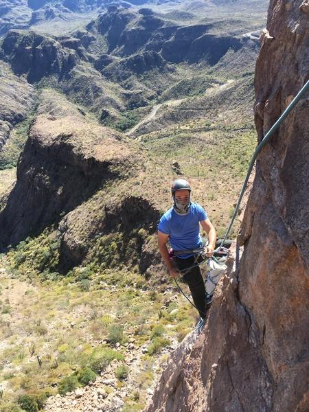 Sebastian on first ascent of Tarantula<br> Baja