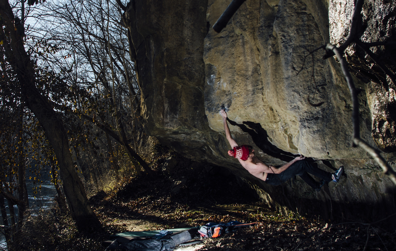 Alex McIntyre sticks the long first move of Cirque du Soleil during the first ascent.