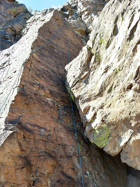 Climb with a rope on it.