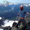 Rapping off the top in perfect Seward weather. Resurection river in the background.
