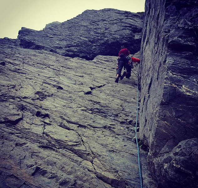 Greg on the awesome corner of P2. Traverse left at the weakness.