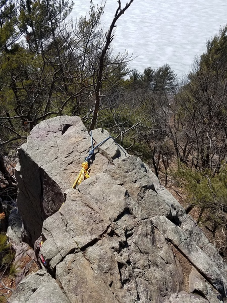 Anchor location. In this I had a figure 8 on a bite and tossed half the rope to the left and half to the right. easy set up for TR solo while giving two routes with one set up.