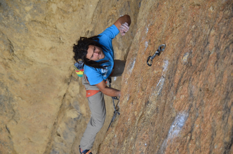 cranking the crux between bolt 4 and 5