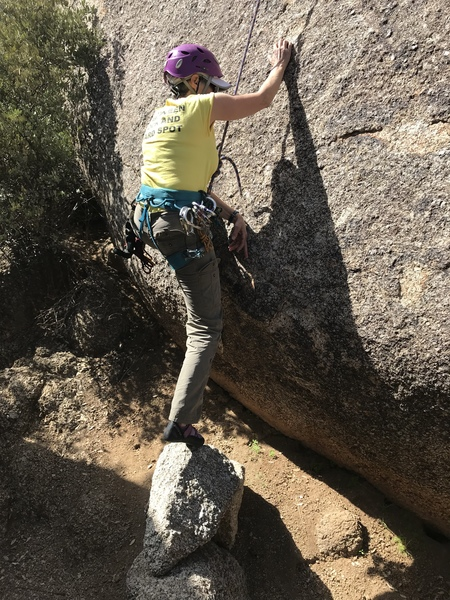 """Deborah starting hawk.  Most people use the """"cheater"""" boulders that have been stacked at the base for quite awhile.  I've been told that the ground has become washed out and used to be higher.  This route seems like it would be quite a bit harder than 5.7 without the cheaters."""