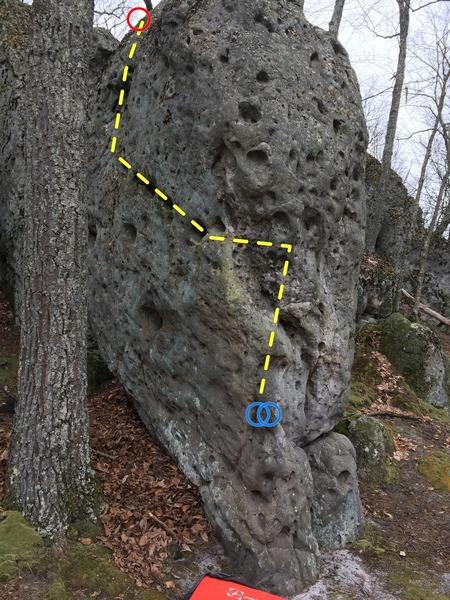 Blockhead boulder, left arete and face.