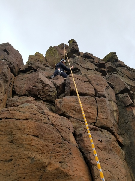 Julie's fist climb. If Leading, mind the edges and use extensions or your rope will look like grandma's wool scarf.