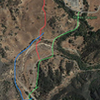 Red is if you park on Mullholland, blue is the shady way on a nice path and green is the way from paid parking (as if!)
