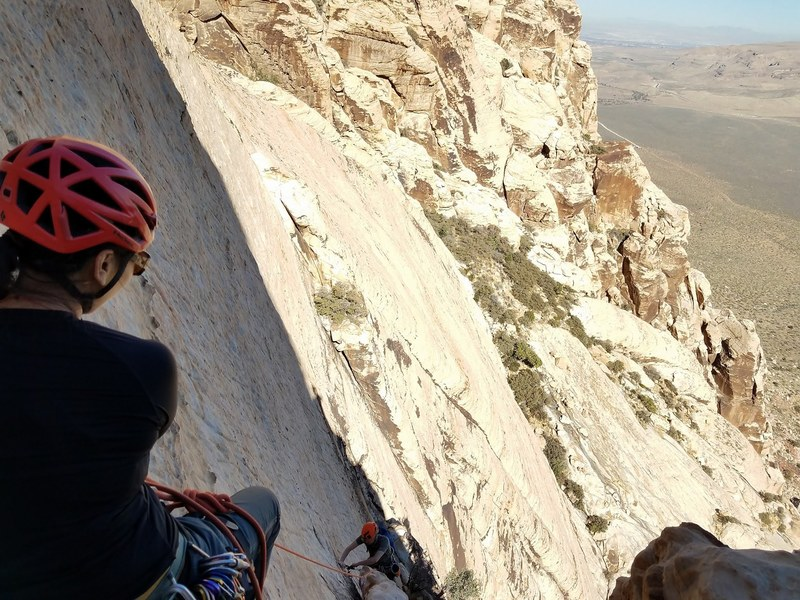 Kay belaying me up pitch 2 of Solar Slab.