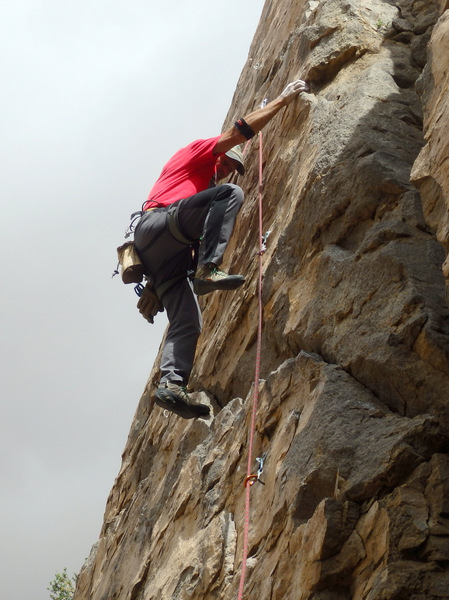 First ascent of Pink Panther - photo by Maidy.