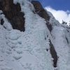 "South Park's ""Chinpokomon"", WI4, 30m (98 feet), Ouray, CO. Starting the route. Great Colorado sky background."