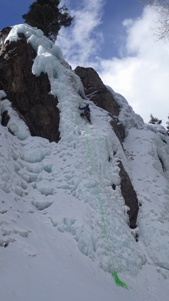 """South Park's """"Chinpokomon"""", WI4, 30m (98 feet), Ouray, CO. Almost to the top. The ice is near the end of the season (Mar 21) but is still quite good to climb."""