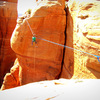 Clayman rigging The Mace highline across to the Middle Mesa