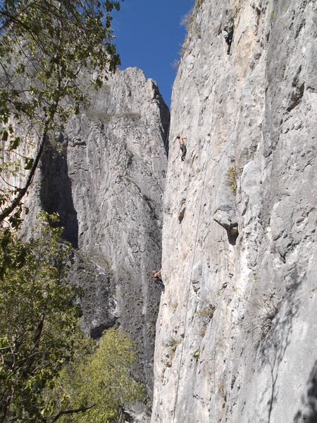 Climbers on Mota Wall.