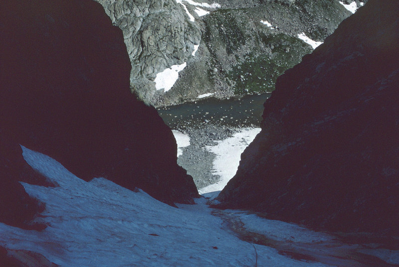Looking down the gully from the top of the snow.