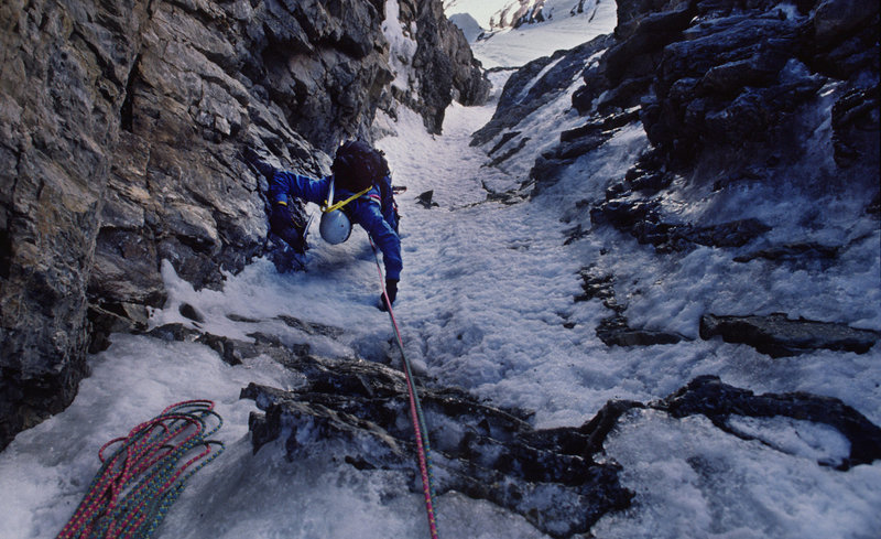 Dale Navish climbing in the Hourglass By-Pass Couloir on the SE Face of Mt Robson