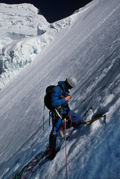 Dale midway up the snow/ice face on the SE Face of Mt Robson