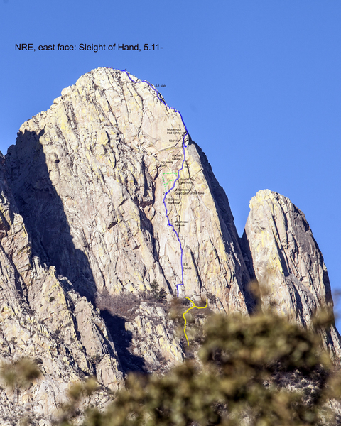 East face of North Rabbit Ear, highlighting the Sleight of Hand route.<br> Established variations/dead ends are marked with green dots - I would recommend NOT venturing through these areas, unless you want extra special adventure.