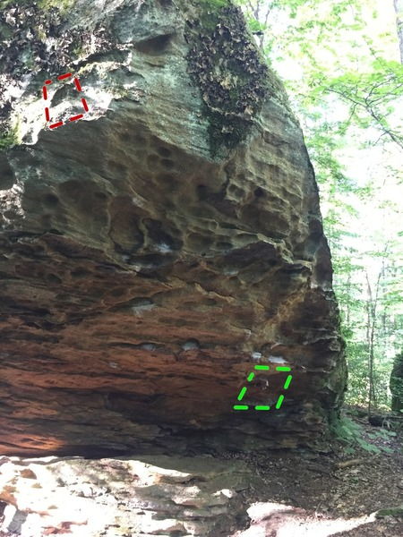Left hand crux cut-out marked red, underneath sequence marked and obvious start from rail marked green