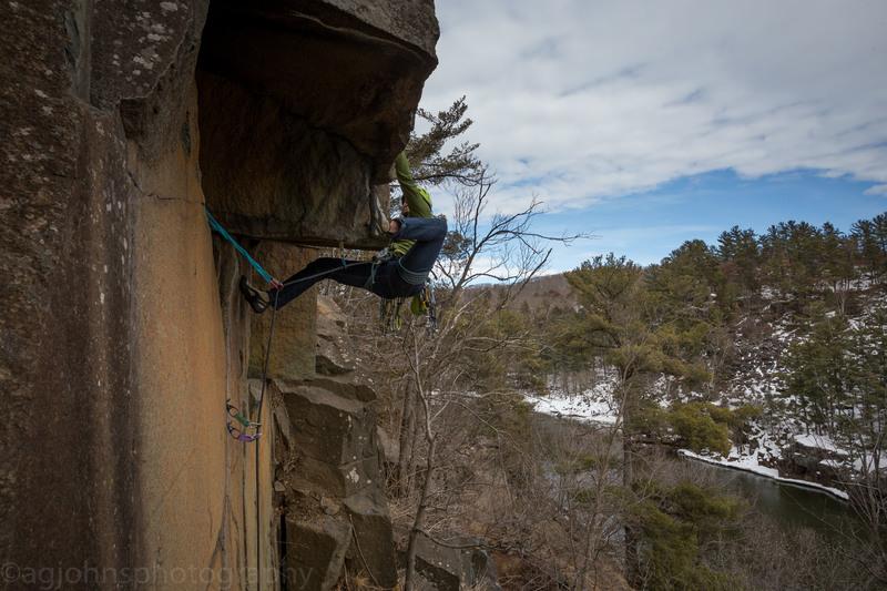 Climber Anthony Johnson<br> Photo by Kristina Suorsa