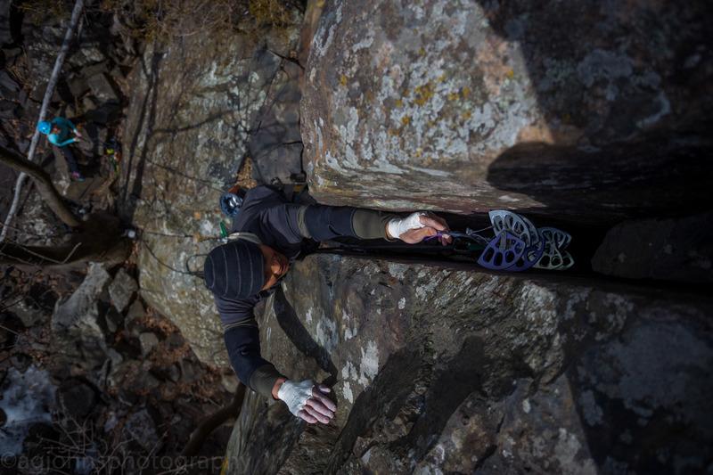 Climber Jo Lee<br> Photo by Anthony Johnson